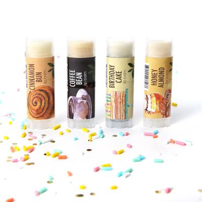 New Lip Balm Natural Vegan set 4 Coffee Bean, Cinnamon Bun, Birthday Cake, Honey Almond