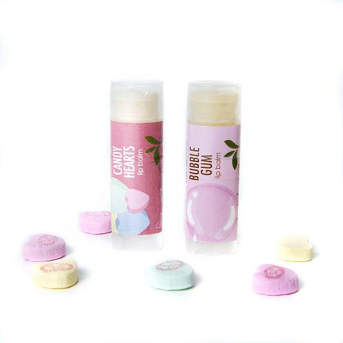 Vegan lip balm gift set of 2 Candy Hearts and Bubble Gum Good Earth Beauty