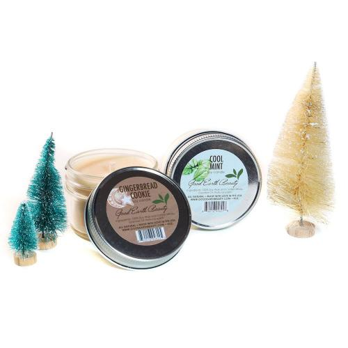 New Candle Natural Soy Set of 2 Holiday Gingerbread Cookie & Cool Mint Good Earth Beauty
