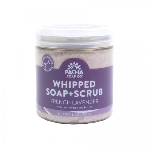 New 8oz size Shower Whip - FRENCH LAVENDER WHIPPED SOAP + SCRUB Pacha Soap