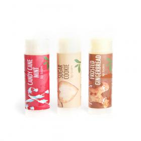 Gift New Vegan Lip Balms Set 3 Candy Cane, Sugar Cookie Frosted Gingerbread