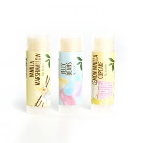 New vegan lip balm gift set of 3 Vanilla Marshmallow, Jelly Bean And Vanilla Lemon Cupcake