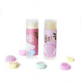 Vegan lip balm gift set of 2 Candy Hearts and Bubble Gum