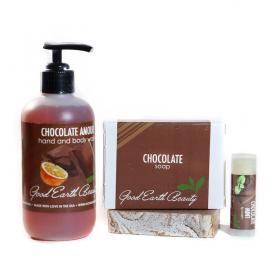 New Chocolate Gift Set  - Lip Balm, Hand/Body Wash, Bar Soap Good Earth Beauty