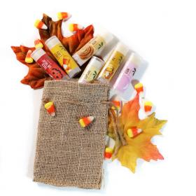 New Lip Balm Natural Vegan set of 6 Autumn Trick or Treat, Candy Corn, Cinnamon Bun, Vanilla Cupcake, Pumpkin Pie & Bubble Gum Good Earth Beauty